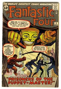 Fantastic Four #8 (Marvel, 1962) Condition: GD+. First appearance of the Puppet-Master and Alicia Masters. Jack Kirby co...