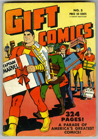 Gift Comics #3 (Fawcett, 1949) Condition: VG/FN. A huge 324 page book packed with entertainment and a Captain Marvel cov...