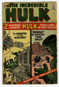 Silver Age (1956-1969):Superhero, The Incredible Hulk #4 (Marvel, 1962) Condition: GD. Two feature-length stories, including a brief retelling of the Hulk's o...