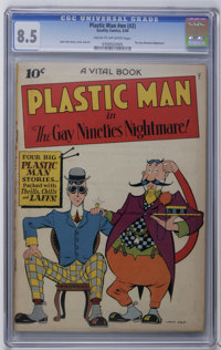 Plastic Man #nn (#2) (Quality, 1944) CGC VF+ 8.5 Cream to off-white pages. Plastic Man and Woozy Winks strike a retro (e...
