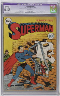 Superman #5 (DC, 1940) CGC Apparent FN 6.0 Extensive (P) Off-white pages. This early issue of the popular title features...