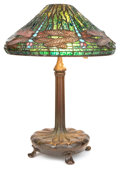 Art Glass:Tiffany , TIFFANY STUDIOS DRAGONFLY TABLE LAMP. Bronze lamp base withgreen, yellow, blue, and brown leaded glass shade i...