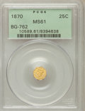 California Fractional Gold: , 1870 25C Liberty Octagonal 25 Cents, BG-762, Low R.4, MS61 PCGS.PCGS Population (13/54). NGC Census: (4/2). (#10589)...