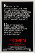 "Movie Posters:Horror, The Omen (20th Century Fox, 1976). One Sheet (27"" X 41"") Style C. Horror.. ..."