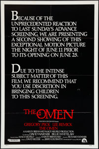 "The Omen (20th Century Fox, 1976). One Sheet (27"" X 41"") Style C. Horror"