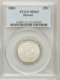 Coins of Hawaii: , 1883 25C Hawaii Quarter MS63 PCGS. PCGS Population (278/586). NGC Census: (169/479). Mintage: 500,000. (#10987)...