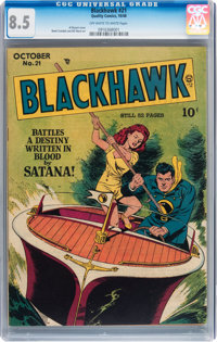 Blackhawk #21 (Quality, 1948) CGC VF+ 8.5 Off-white to white pages