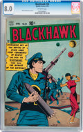 Golden Age (1938-1955):War, Blackhawk #30 (Quality, 1950) CGC VF 8.0 Off-white pages....