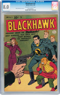 Golden Age (1938-1955):War, Blackhawk #31 (Quality, 1950) CGC VF 8.0 Off-white to whitepages....