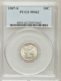Barber Dimes: , 1907-S 10C MS62 PCGS. PCGS Population (16/52). NGC Census: (13/34).Mintage: 3,178,470. Numismedia Wsl. Price for problem f...
