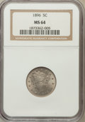 Liberty Nickels: , 1896 5C MS64 NGC. NGC Census: (95/52). PCGS Population (111/71).Mintage: 8,842,920. Numismedia Wsl. Price for problem free...