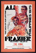 """Boxing Collectibles:Autographs, 1975 Muhammad Ali & Joe Frazier Signed """"Thrilla"""" StatesidePoster...."""