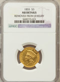 Three Dollar Gold Pieces, 1855 $3 -- Removed From Jewelry -- NGC Details. AU. NGC Census:(69/869). PCGS Population (124/505). Mintage: 50,555. Numis...