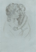 Fine Art - Work on Paper:Print, MARY STEVENSON CASSATT (American, 1844-1926). Denise Holding HerChild, circa 1905. Drypoint etching. 8-1/4 x 6 inches (...