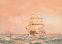 JOHN FRASER (British, 1858-1927) A Man-of-War Leaving Spithead, circa 1890 Watercolor on paper 29 x 36-1/2 inches (73