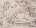 Fine Art - Work on Paper:Drawing, After JOHANN HEINRICH RAMBERG (German, 1763-1840). Les Amants Surpris (The Surprised Lovers), 1799. Pen and ink on paper...
