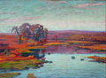 Fine Art - Painting, American:Modern  (1900 1949)  , WILLIAM GREASON (American, 1884-1945). Landscape with Trees andPond at Sunset, 1924. Oil on canvas. 31 x 42-1/2 inches ...