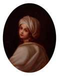 Fine Art - Painting, European, CONTINENTAL SCHOOL (Late 19th/Early 20th Century). Copy afterGuido Reni's Potrait of a Girl. Oil on canvas. 9-1/2 x 7-1...