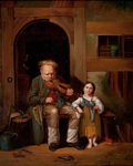 Paintings, After FRED ROE (British, 1864-1947). Old Violinist and Little Girl. Oil on canvas. 13-1/4 x 10-1/2 inches (33.7 x 26.7 c...
