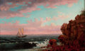Fine Art - Painting, American:Other , After XANTHUS SMITH (American, 1839-1929). Sailboat Off a RockyShore. Oil on canvas. 12 x 20 inches (30.5 x 50.8 cm). S...