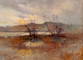 Fine Art - Painting, American:Modern  (1900 1949)  , SCOTTISH ARTIST (Late 19th/Early 20th Century). Rural Landscapewith Two Weathered Trees, 1917. Oil on canvas. 11 x 15 i...