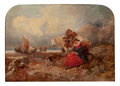 Fine Art - Painting, American, GEORGE TURNER (British, 1843-1910). Fisherman and Wife Loading the Catch on a Rocky Beach. Oil on wood panel. 10 x 14 in...