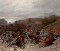 Paintings, WILFRID BEAUQUESNE (French, 1847-1914). Battle Scene from the Franco-Prussian War, 1896. Oil on canvas laid on masonite...