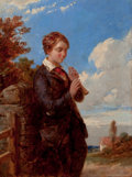 Fine Art - Painting, American:Other , After WILLIAM R. MILLER (American, 1850-1923). A Young BoyPlaying a Flute in a Rural Landscape. Oil on canvas. 16-1/4x...