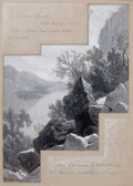 Fine Art - Work on Paper:Drawing, JAMES DAVID SMILLIE (American, 1833-1909). Harbor Islands, LakeGeorge New York. Ink wash and tempera on board. 16 x 12 ...