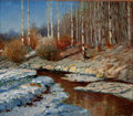 Fine Art - Painting, American:Other , AMERICAN ARTIST (20th Century). Winter Landscape with BirchTrees. Oil on canvas . 25-1/4 x 29-1/2 inches (64.1 x 74.9 c...