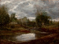 Fine Art - Painting, European:Other , Manner of JOHN CONSTABLE (British, 1776-1837). Bridge of theWater. Oil on cradled wood panel. 15-1/2 x 19-1/2 inches (3...
