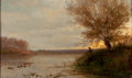 Fine Art - Painting, American, AMERICAN SCHOOL (19th Century). Sunset Landscape on a Pond.Oil on cradled wood panel. 10 x 16 inches (25.4 x 40.6 cm). ...