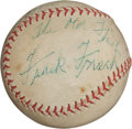 Autographs:Baseballs, Circa 1950 Frank Frisch Single Signed Baseball, PSA/DNA EX-MT+6.5....