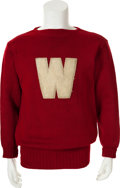 Football Collectibles:Uniforms, 1942 Elroy Hirsch Personally Worn University of Wisconsin Badgers Pullover Letterman's Sweater....