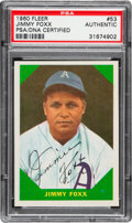 Baseball Cards:Singles (1960-1969), Signed 1960 Fleer Jimmy Foxx #53 PSA/DNA Authentic. ...
