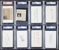Baseball Collectibles:Others, New York Yankees Greats Signed Index Cards and Cut Signatures Lotof 8. ...