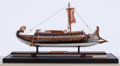 Maritime:Decorative Art, MODEL OF AN ANCIENT GREEK SAILING VESSEL. American Marine and ShipModel Gallery, Salem MA. An exquisite and lively model of...