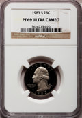 Proof Washington Quarters: , 1983-S 25C PR69 Ultra Cameo NGC. NGC Census: (617/48). PCGSPopulation (3329/107). Numismedia Wsl. Price for problem free ...