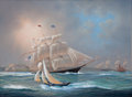 Maritime:Paintings, TIMOTHY H. THOMPSON (American, b. 1951). American Clippers VisitGuernsey. Oil on canvas. 18 x 24 inches (45.7 x 61.0 cm...