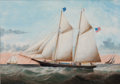 Maritime:Paintings, WILLIAM GAY YORKE (American, 1817-1892). American Schooner'Annie Bell', 1879. Oil on canvas. 21-1/4 x 29-3/4 inches(54...
