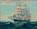 Maritime:Paintings, ROBERT OLIVER SKEMP (American, 1910-1984). Ship Painting withStars & Stripes, 1933. Oil on canvas. 24 x 30 inches(61.0...