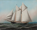 Maritime:Paintings, ANTONIO NICOLO GASPARO JACOBSEN (American, 1850-1921). Portraitof an American Yacht Flying Flag of NY Yacht Club, 1887...