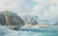 Maritime:Paintings, LEONARD JOHN PEARCE (British, b. 1932). Steamboat Days, MaryPowell, Queen of the Hudson, Storm King Mountain inBackgroun...