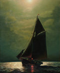 Maritime:Paintings, JAMES GALE TYLER (American, 1855-1931). Shipping in MoonlightSeas. Oil on canvas. 30 x 25 inches (76.2 x 63.5 cm). Sign...