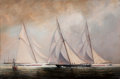 Maritime:Paintings, PETER LAYNE ARGUIMBAU (American, b. 1951). America CupTrails. Oil on canvas. 25 x 36-1/2 inches (63.5 x 92.7 cm).Signe...