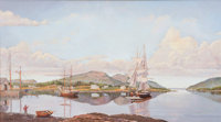 GERALD E. FELLOWS (American, 20th century) Entrance of Somes Sound Oil on canvas 18 x 32 inches (