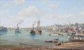 Maritime:Paintings, ROY CROSS (British, b. 1924). Port of Georgetown, 1987. Oilon canvas. 22 x 36 inches (55.9 x 91.4 cm). Signed lower lef...