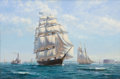 Paintings, ROY CROSS (British, b. 1924). 'Challenge' Leaving NY, 1850s, 1992. Oil on canvas. 20 x 30 inches (50.8 x 76.2 cm). Signe...