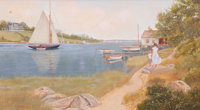 GERALD E. FELLOWS (American, 20th century) Drying Sails Oil on canvas 18 x 32 inches (45.7 x 81.3