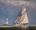 Maritime:Paintings, PETER LAYNE ARGUIMBAU (American, b. 1951). Atlantic CupChallenge, NY Harbor. Oil on board. 20 x 24 inches (50.8 x 61.0...